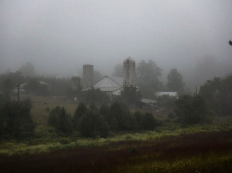 The neighbors' barn in some foggy weather. Photo by Christina Stockton and Jason Swartz