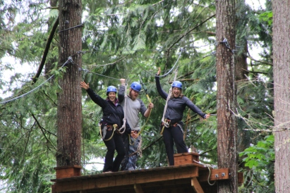 Students having fun at the Evergreen State College ropes course (this could be us!)